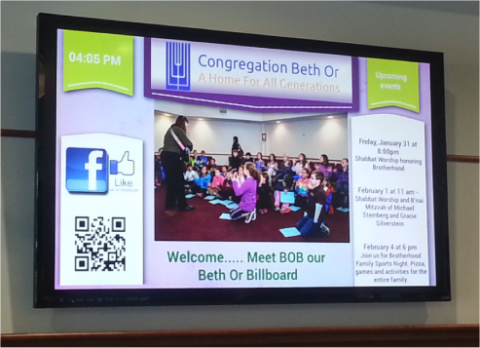 digital signage at Beth Or