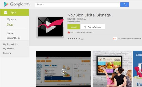 NoviSign Digital Signage App in the Market