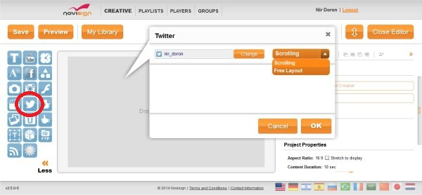 Digital signage Twitter widget layouts
