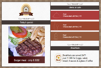 Menu Board template for resturant