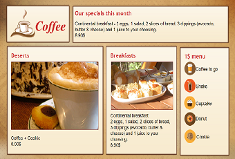 Menu board templates for digital signage