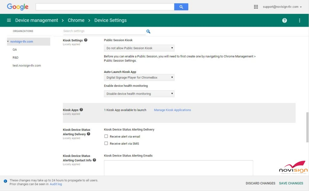 Google Device Management - Device settings after app selection