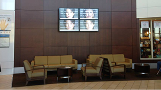 Video wall signage in a lobby