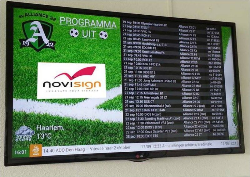 Alliance soccer club digital signage