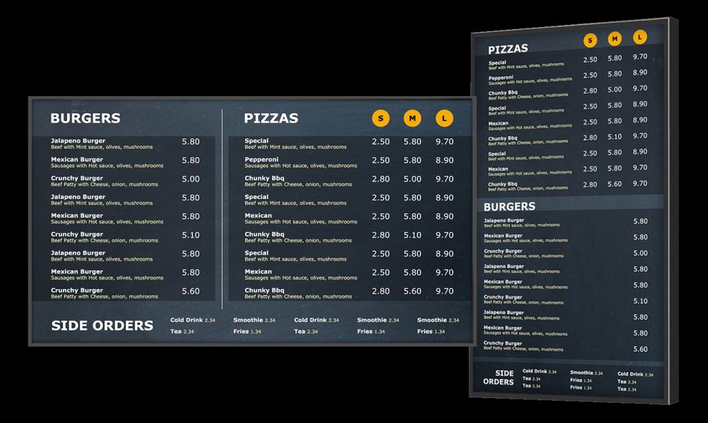 Pizza shop menu board