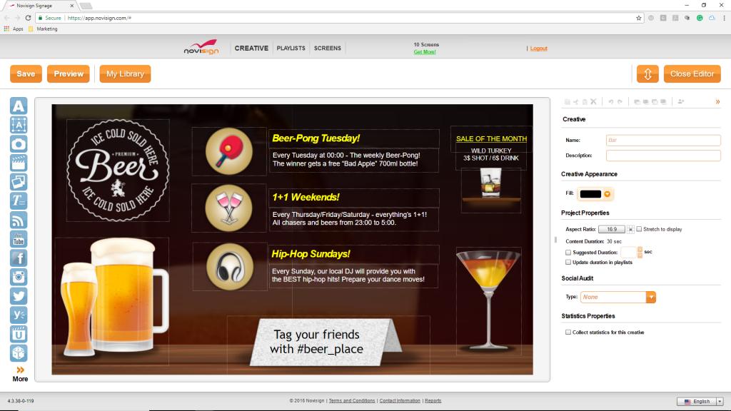 QSR digital menu board