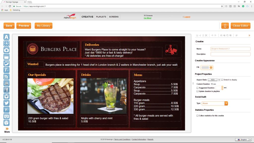 Digital Menu Board Software