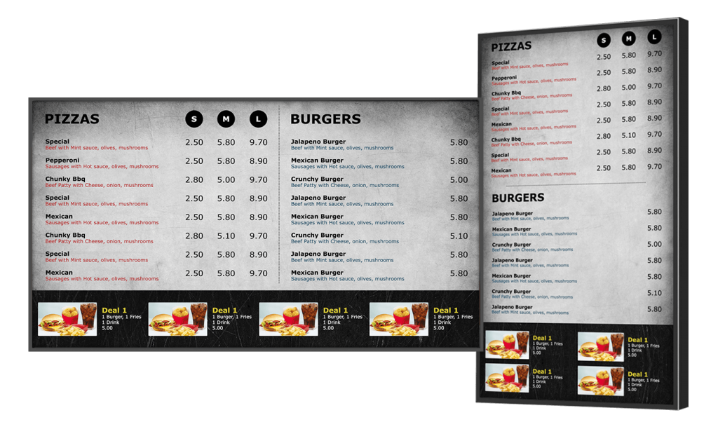 Digital menu board software for Restaurant design program