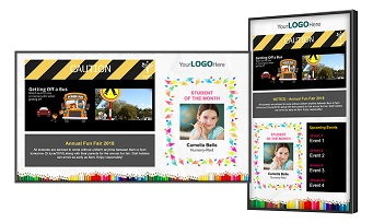 digital signage school templates