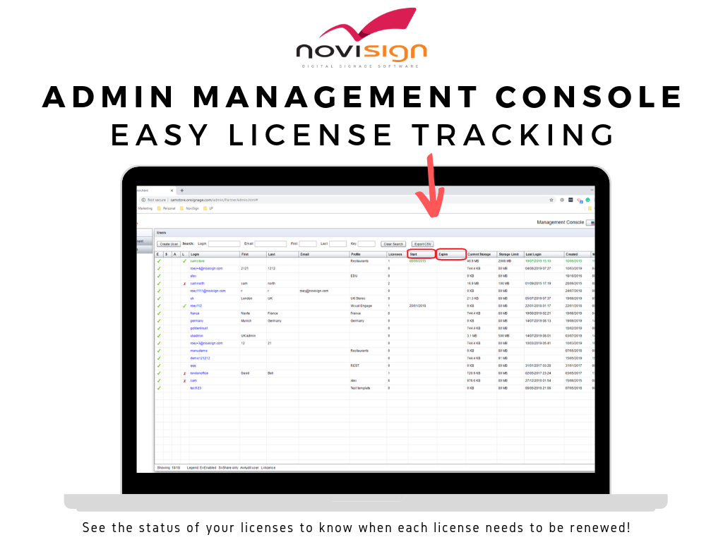 novisign management console