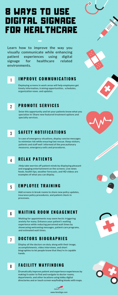 Healthcare digital signage infographic