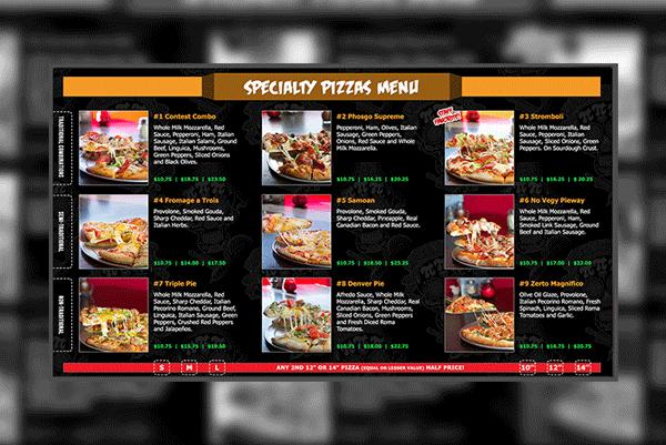Pizza Digital Menus