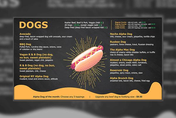 Hotdog digital menu boards