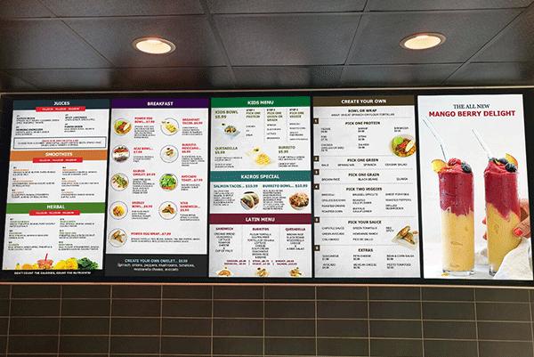 TV menu board
