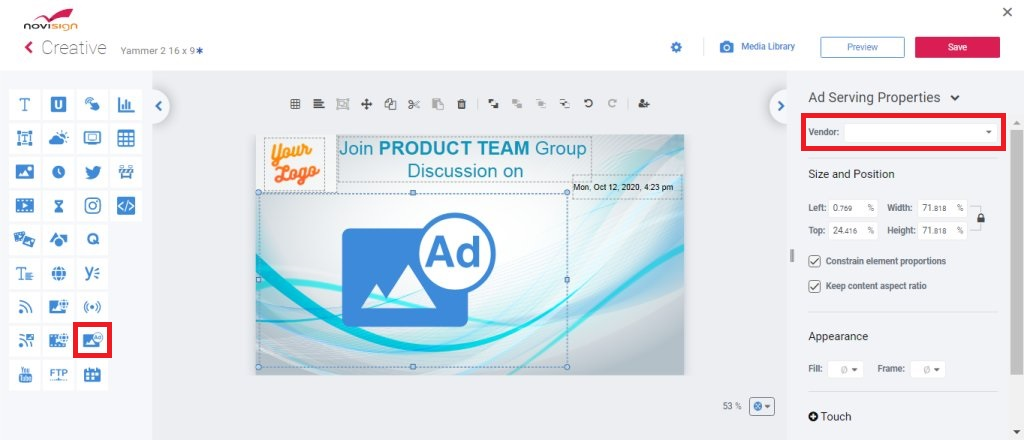 Step 1 - dragging the Ad widget