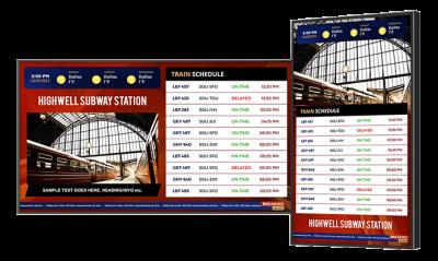 Digital signage for train stations